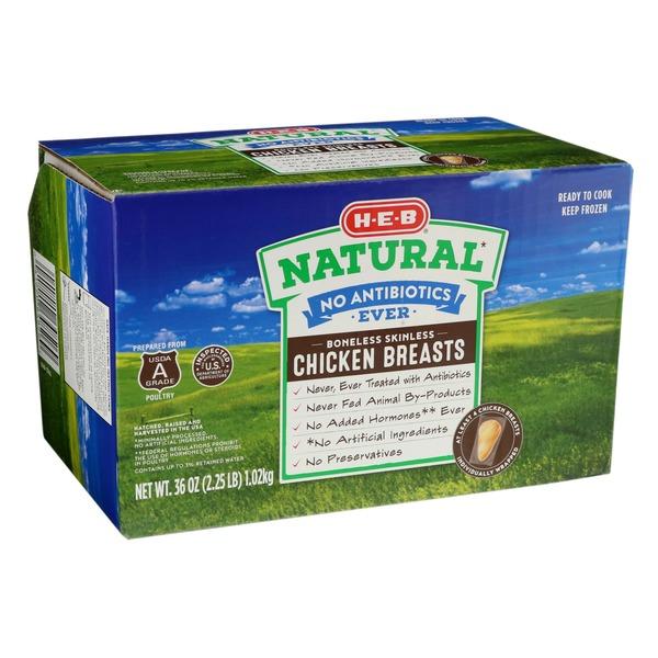 H-E-B Natural Chicken Boneless Skinless Chicken Breasts No
