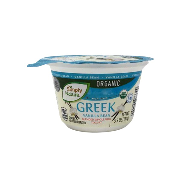 Simply Nature Organic Greek Vanilla Bean Blended Whole Milk Yogurt 5 3 Oz Instacart