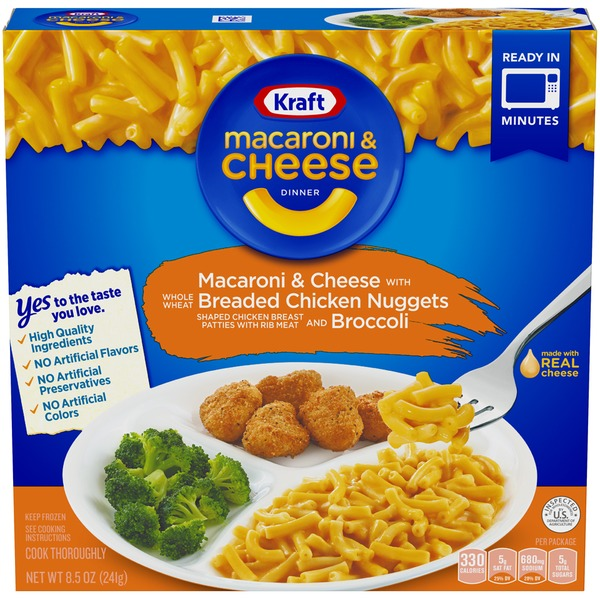 kraft kraft macaroni cheese with breaded chicken nuggets and