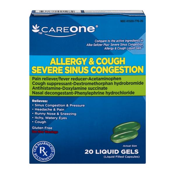 CareOne Severe Sinus Congestion Allergy & Cough Formula (20