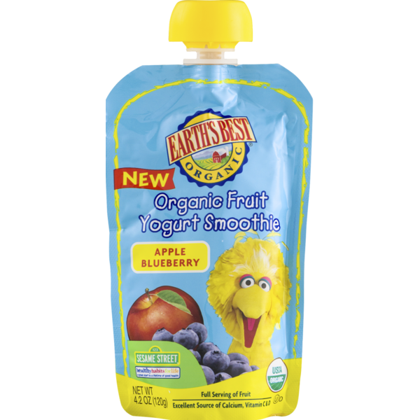 Earth's Best Organic Fruit Yogurt Smoothie Apple Blueberry