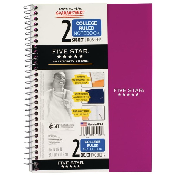 Five Star 2 Subject College Ruled Notebook (1 ct) from King