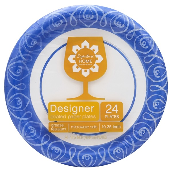 Signature Home Designer Coated Paper Plates Microwave Safe  sc 1 st  Instacart & Signature Home Designer Coated Paper Plates Microwave Safe (24 ct ...