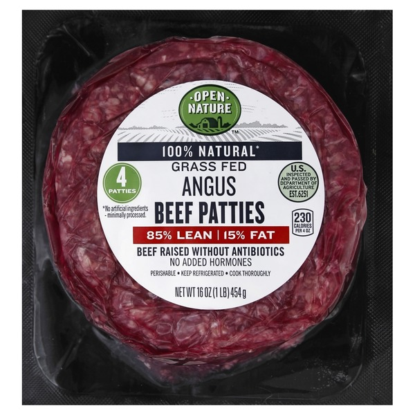 Open Nature Beef Patties, Angus, Grass Fed, 85%/15% (4