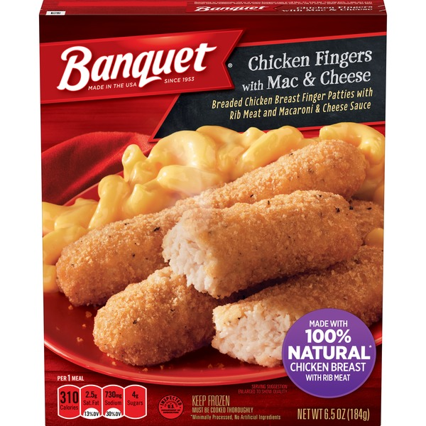 Banquet Basic Chicken Finger With Mac And Cheese Meal From