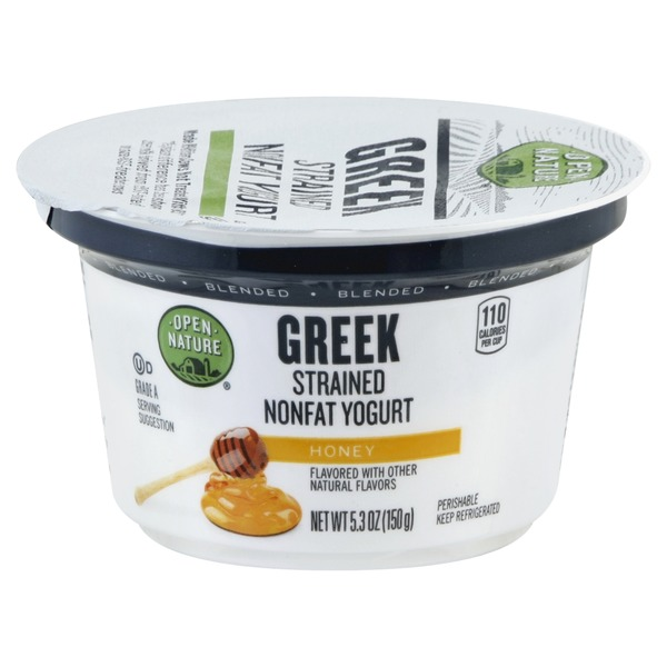 Open Nature Yogurt, Greek, Nonfat, Strained, Blended, Honey