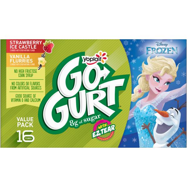 Go-Gurt Yoplait , Disney Frozen Portable Low Fat Yogurt Variety Pack, Strawberry &