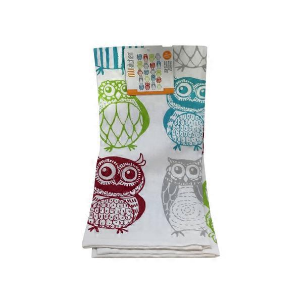 MUkitchen 100% Cotton Oversized Designer Happy Owls Kitchen Towel