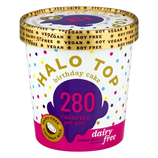 Halo Top Dairy Free Frozen Dessert Birthday Cake
