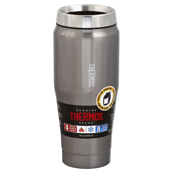 Thermos Tumbler, Travel, Stainless Steel, 16 Ounce (1 each