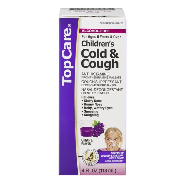 topcare children s cold cough alcohol free grape from stater bros
