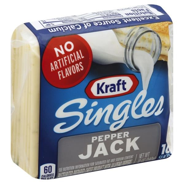 Kraft Singles Pepper Jack Cheese Slices (12 oz) from Publix