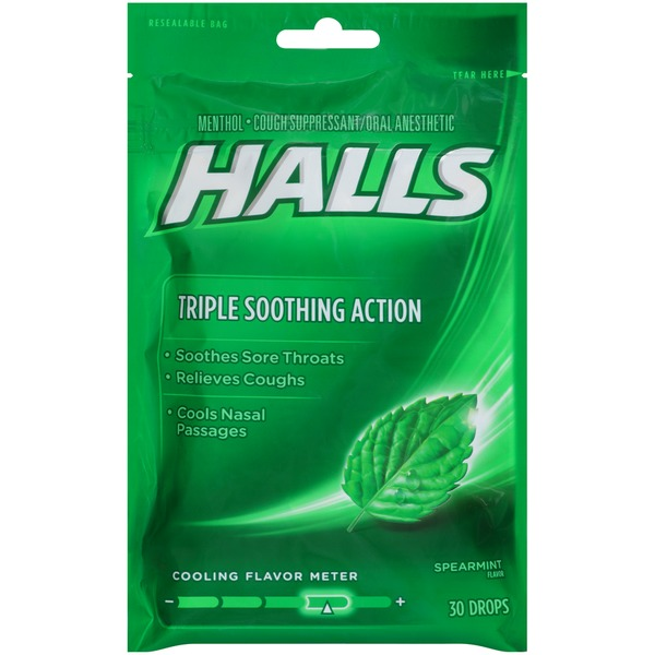 Halls Spearmint Menthol Drops Cough Suppressant/Oral