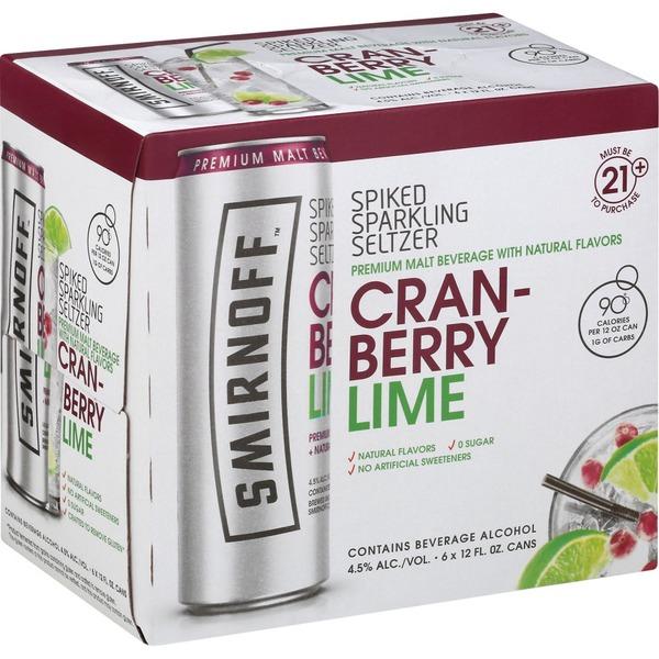 Smirnoff Sparkling Seltzer, Spiked, Cranberry Lime, 6 Pack
