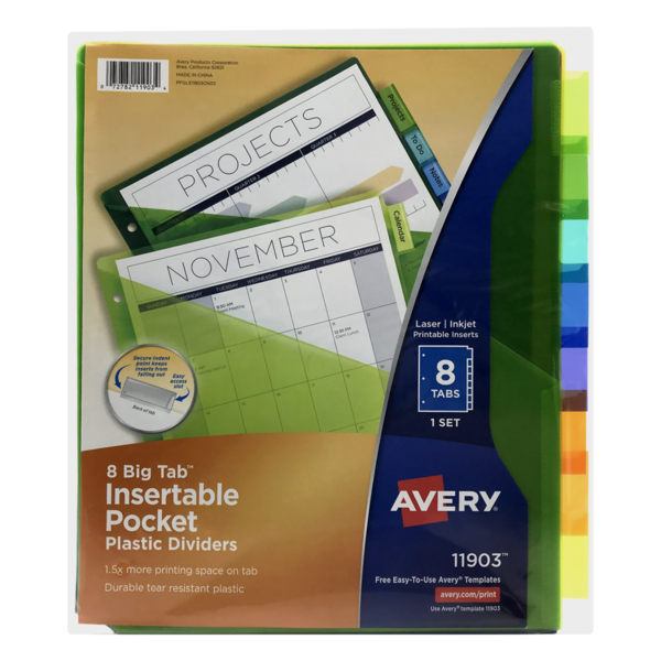 photograph about Avery Printable Tabs referred to as Avery 8 Substantial Tab Insertable Pocket Plastic Dividers (1 ct