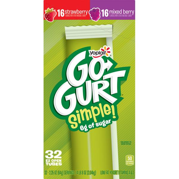 Yoplait Go-Gurt Simple Portable Yogurt Variet Strawberry/Mixed Berry