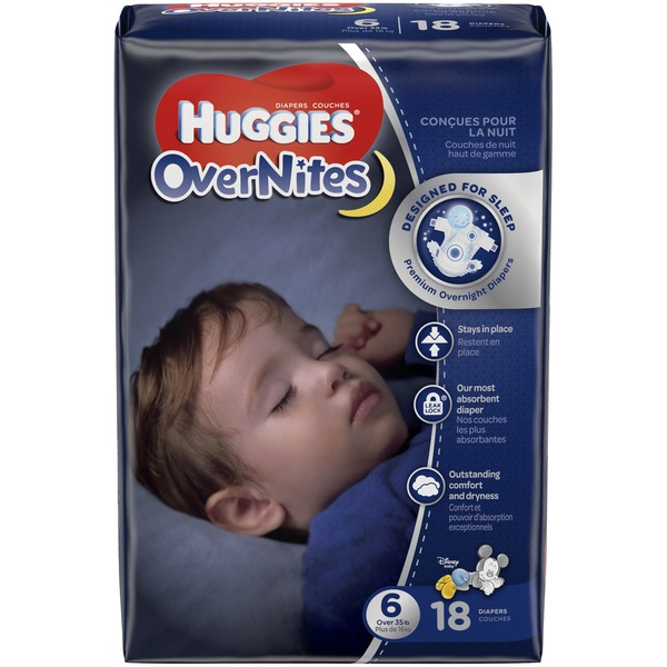 Size 6 42 Count toddlers 35 pounds diaper night Huggies Overnites Diapers
