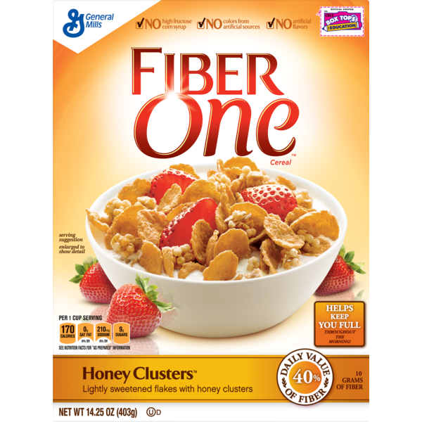 big y world class market fiber one cereal honey clusters whole grain cereal