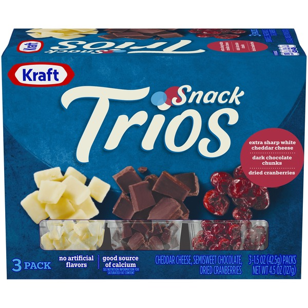 Kraft Cheddar Cheese Dark Chocolate Dried Cranberries Snack Trios