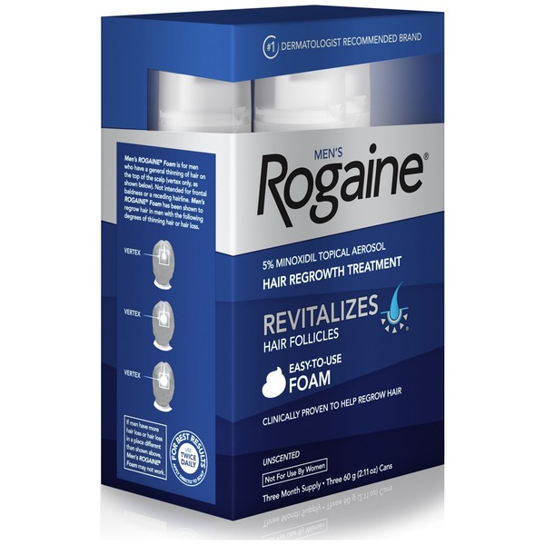 Rogaine Mens 5 Minoxidil Topical Foam Three Month Supply 180 Gr