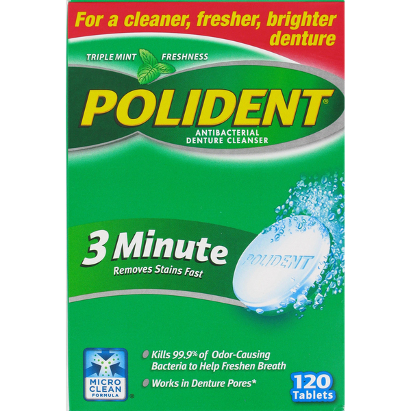 polident 3 minute triple mint antibacterial effervescent tablets