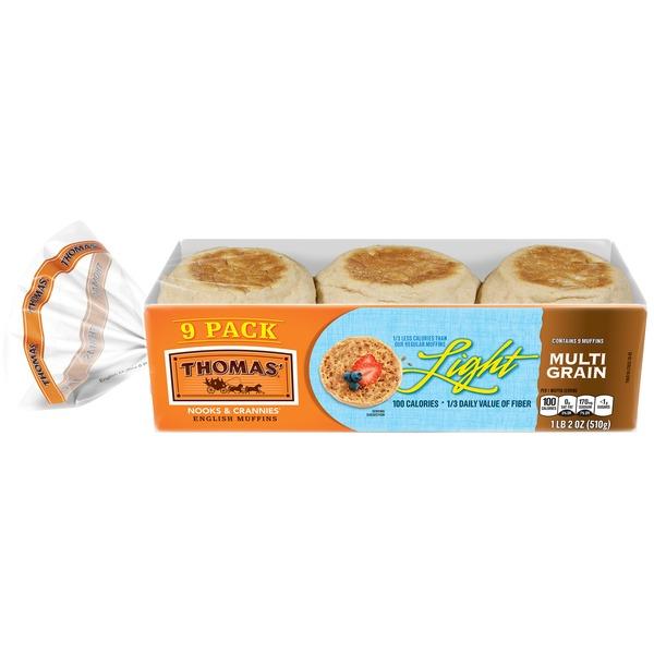 Thomas English Muffins Light 100 Calories Multi Grain 18 Oz Instacart