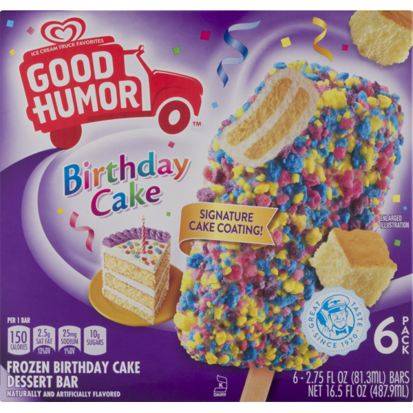 Kroger Good Humor Birthday Cake Frozen Dessert Bar