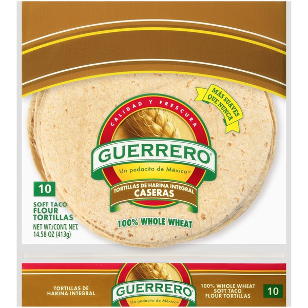 Guerrero 100 Whole Wheat Soft Taco Flour Tortillas 14 58 Oz Instacart
