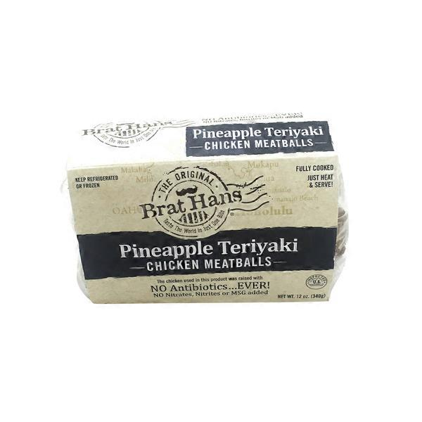 Brat Hans Pineapple Teriyaki Chicken Meatballs 12 Oz From Whole
