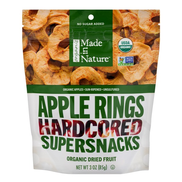 Made in Nature Organic Dried Fruit Supersnacks Hardcored Apple Rings