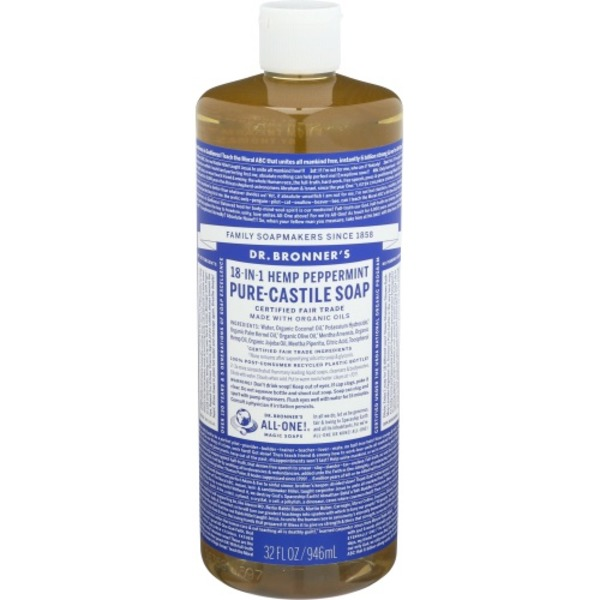 Dr  Bronner's All-one! 18-in-1 Hemp Peppermint Pure-castle Soap (32