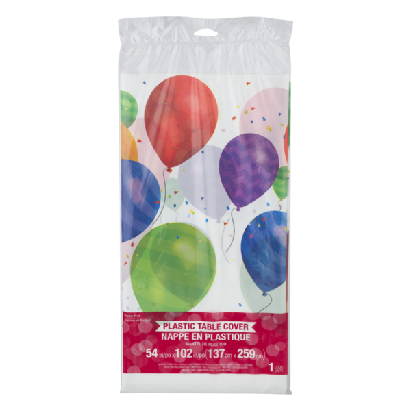 Creative Converting Plastic Table Cover Balloon Blast 54 In X 102 In