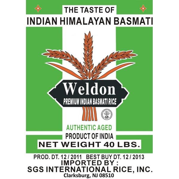 Weldon Foods Premium 1121 Basmati Rice (40 lb) from