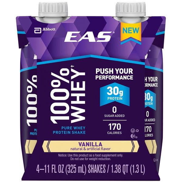 EAS Vanilla EAS 100% Whey Protein Shake Vanilla Ready-to-Drink Bottles