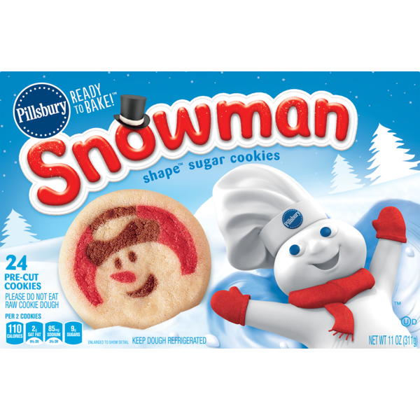 Pillsbury Ready To Bake Snowman Shape Sugar Cookies 11 Oz From