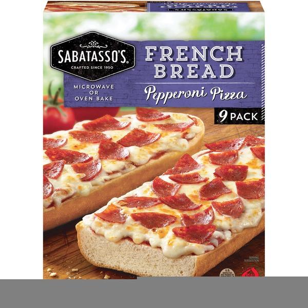 Sabatassos Pizzeria French Bread Pepperoni Pizza 9 Ct Box