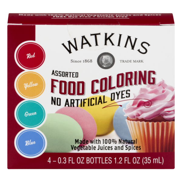 J.R. Watkins Assorted Food Coloring Dyes Red, Yellow, Green ...