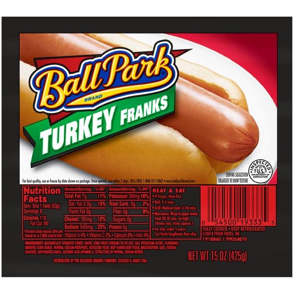 Ball Park Turkey Hot Dogs, Original Length, 8 Count