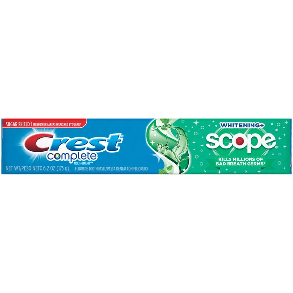 Crest Scope Crest Complete Whitening + Scope Minty Fresh Striped Toothpaste, 6.2oz  Scope Crest Complete Whitening + Scope Minty Fresh Striped Toothpaste