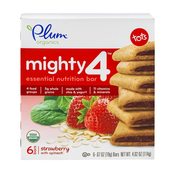 plum organics mighty 4 essential nutrition bar strawberry with spinach 6 ct