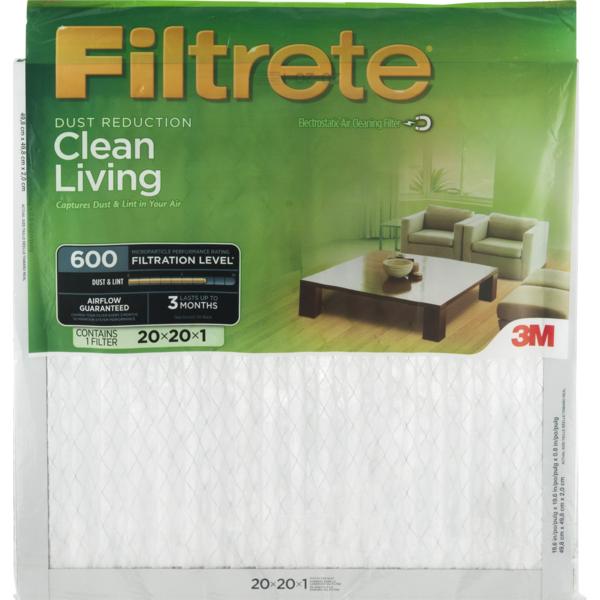 filtrete 3m dust reduction clean living 600 air filter 20x20x1 (1 ...