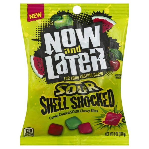 Now And Later Candy Coated Chewy Bites Sour Shell Shocked 6 Oz Instacart