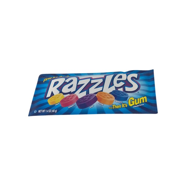 Razzles Gum, Lemon, Raspberry, Grape, Orange, Blueberry (1 4 oz