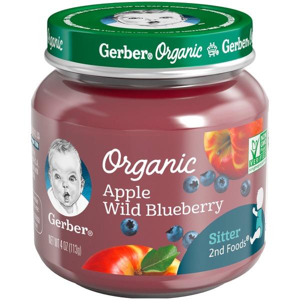 Gerbes Gerber Organic 2 Nd Foods Glass Apple Wild Blueberry 2nd