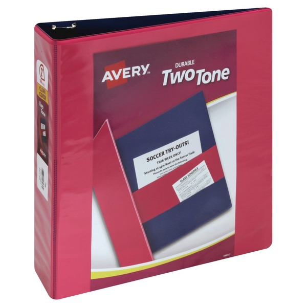 avery binder durable two tone clear cover 2 inch 1 ea from