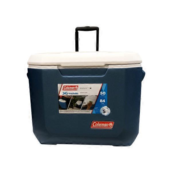 Coleman's 50 Quart Blue & White Xtreme Wheeled Cooler (1