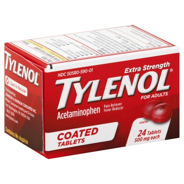 tylenol acetaminophen extra strength 500 mg coated tablets 24 ea