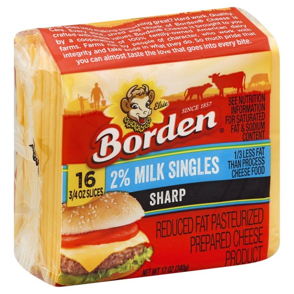 borden cheese product pasteurized prepared sharp reduced fat 2 milk singles 16 each from
