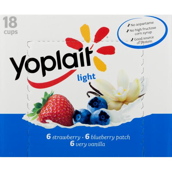 Yoplait Light Fat Free Yogurt Strawberry, Blueberry Patch, Very Vanilla