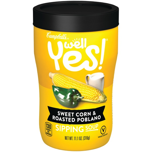 campbell's well yes sipping soup sweet corn  roasted